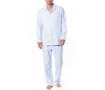 Schlafanzug Pyjama, Flanell, hell kariert