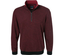 Pullover Troyer, Modern Fit, Baumwolle, bordeaux