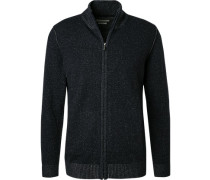 Cardigan, Wolle, navy meliert
