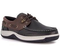 Bootsschuhe, Leder wasserabweisend, navy-braun