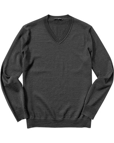 Pullover, Schurwolle, grau meliert