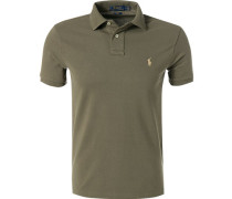 Polo-Shirt, Slim Fit, Baumwoll-Pique, oliv