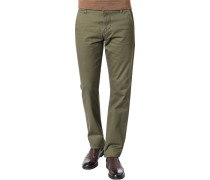 Hose Chino, Slim Fit, Baumwolle, oliv