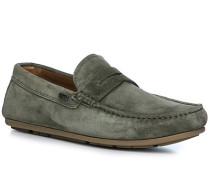 Schuhe Mokassins, Veloursleder, oliv