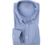 Hemd, Tailor Fit, Popeline, weiß-royal gestreift
