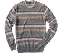 Pullover, Merinowolle, greige-beige gestreift