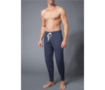 Pyjamahose, Baumwolle, navy meliert
