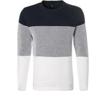 Pullover, Baumwolle, weiß- gestreift