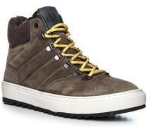 Schuhe Schnürboots, Veloursleder, taupe