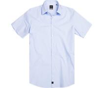 Hemd, Slim fit, Baumwolle, bleu-weiß gepunktet