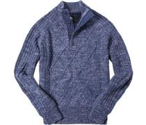Pullover Troyer, Schurwolle, -weiß meliert