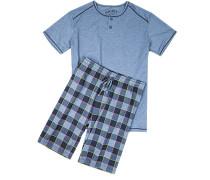 Schlafanzug Pyjama, Baumwolle, rauch kariert