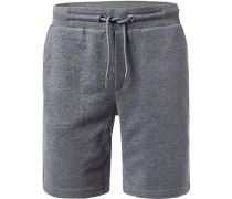 Hose Shorts, Baumwolle, anthrazit meliert