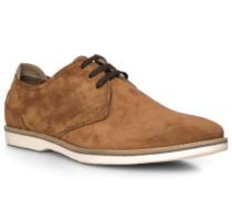 Schuhe Derby, Veloursleder, cognac