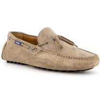 Schuhe Mokassins, Veloursleder, taupe