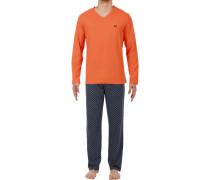 Schlafanzug Pyjama, Baumwolle, -blau gemustert