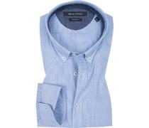 Hemd, Shaped Fit, Baumwolle, -weiß gemustert