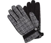 Handschuhe, Leder-Wolle, schwarz- gemustert