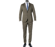 Anzug, Baumwoll-Stretch halbgefüttert, oliv