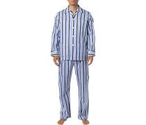 Schlafanzug Pyjama, Baumwolle, -weiß gestreift