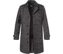 Mantel, Wolle-Mohair, -weiß gemustert