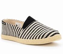 Schuhe Espadrilles, Textil, schwarz- gestreift