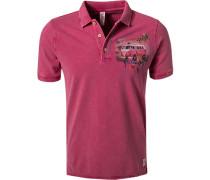 Polo-Shirt, Baumwoll-Piqué, fuchsia meliert