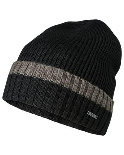 Mütze, Schurwolle, schwarz-dunkel