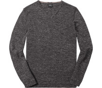 Pullover, Merino-Leinen, dunkel meliert