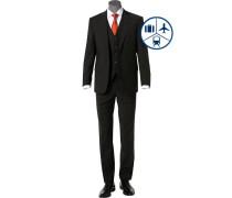 Anzug mit Weste, Regular Fit, Schurwoll-Stretch