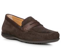 Schuhe Mokassin-Slipper, Kalbveloursleder, dunkel