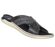 Schuhe Sandalen, Leder-Textil, navy-dunkel