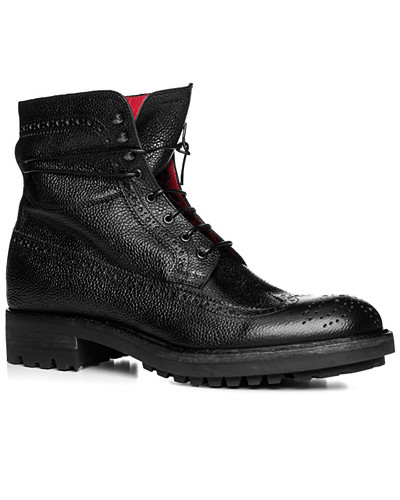 rosso e nero Herren Schuhe Schnürstiefeletten, Leder genarbt, nero