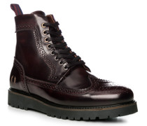 Schuhe Schnürstiefeletten, Leder, bordeaux