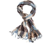 Schal, Baumwolle, blau-beige kariert