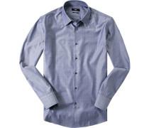 Hemd, Regular Fit, Fischgrat, jeans gemustert