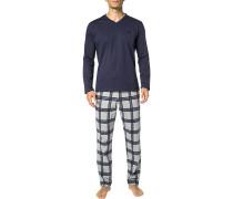 Schlafanzug Pyjama, Baumwolle, navy-grau kariert