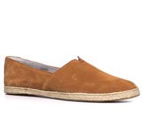 Schuhe Slipper, Veloursleder, cognac
