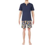 Schlafanzug Pyjama, Baumwolle, navy gemustert