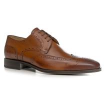 Schuhe Brogue, Kalbleder, cognac