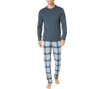 Schlafanzug Pyjama, Baumwolle, hell kariert