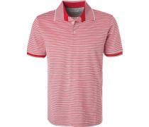 Polo-Shirt, Baumwoll-Piqué, feuer-weiß gestreift