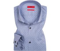 Hemd, Extra Slim Fit, Popeline, bleu gemustert