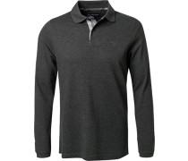 Polo-Shirt, Baumwoll-Pique, anthrazit meliert