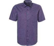 Kurzarmhemd, Comfort Fit, Popeline, -rot gemustert
