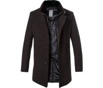 Mantel, Wolle, schwarz meliert