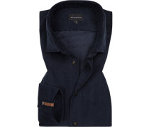 Hemd, Tailored Fit, Feincord, nacht