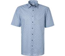 Kurzarmhemd, Comfort Fit, Popeline,  gemustert