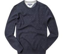 Pullover, Baumwolle, navy gemustert