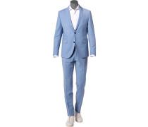 Anzug, Slim Fit, Schurwoll-Stretch, hell meliert